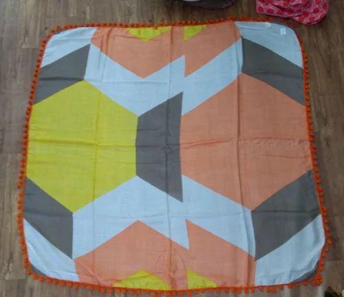 Pompom Cotton Printed Scarves