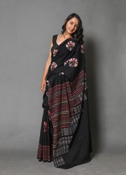 Party Wear Khandelwal Hand Block Printed Cotton Saree, 6.3 m (with blouse piece)
