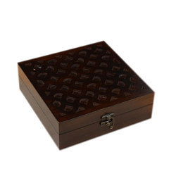 Wood Brown Abstract Hand Carved En Jewelry Box