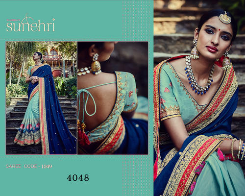 e805e002af Party Wear, Wedding Wear Embroidered Designer Saree, Rs 2210 /piece ...