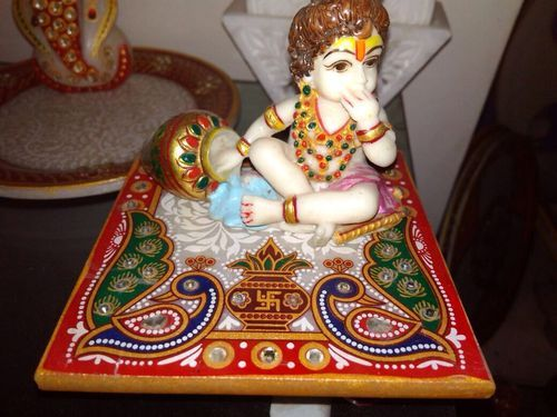 Golden Gold Plated Painted Marble Square Laddu Gopal ji