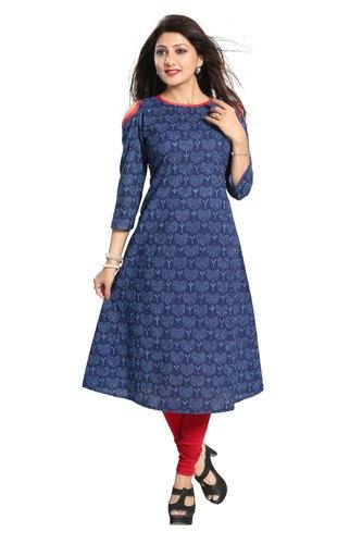 Stitched 3/4th Sleeve ALC Creations Women' s Cotton Kurti