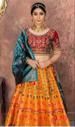 Designer Orange Banarasi Silk Party Wear Lehenga Choli