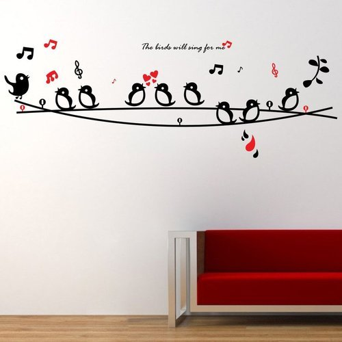 multicolor 134 x 48 cm decor kafe home decor singing birds wall