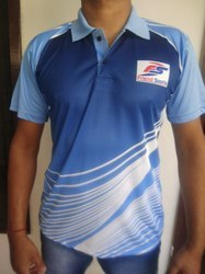 Blue & Navy Blue Printed And Striped FS Collar T-shirts With Front Sublimation., Size: Small, Medium, Large