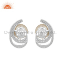 CZ Natural Pearl Gemstone 925 Silver Stud Earrings Jewelry