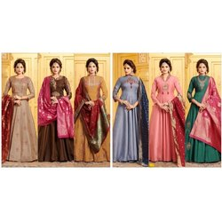 Silk Ladies Designer Anarkali Suit, Dry clean