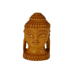 Brown Wood Santarms Handcrafted Wooden Buddha Head