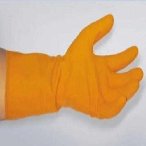 Unisex Industrial Orange Rubber Safety Gloves