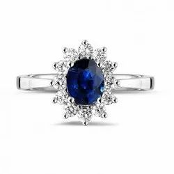 Beautiful Center Blue Sapphire and Real Round Diamonds Cocktail Ring