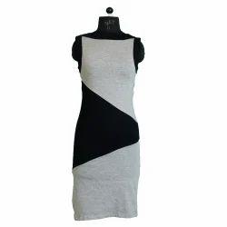 Cotton Gray And Black Ladies Zig Zag Midi Dress