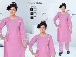 Pink Cotton Formal Kurti