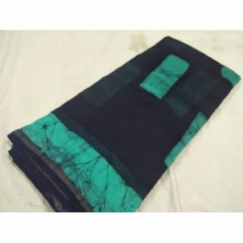 Trendy Chanderi Batik Print Saree, Packaging Type: Box