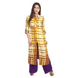 Yellow and Purple Printed Rayon Kurti