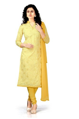 2816966726 New Latest Bollywood Designer Yellow Rubber Print Silk Cotton Women' s Dress  Material
