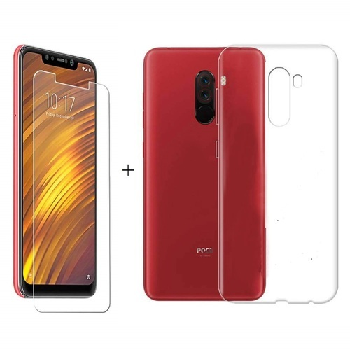super popular 68eb0 8c811 Premium Xiaomi Red Mi Poco F1 Tpu And Tempered Glass Combo Transparent Back  Cover And Screenguard Co