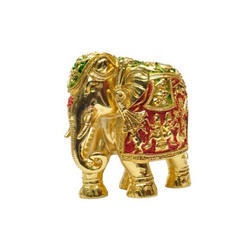 Gold Plated Meena Elephant Size 4 Statues