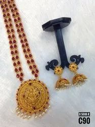 South Indian Style Kemp Jewellery Set - 5021