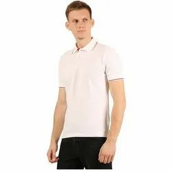 Mens White Collar Neck T-Shirt