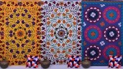 Suzani Embroidery Bedspread Wall Hanging