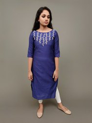 Calf Long Boat Neck Navy Blue Designer Kurti, Wash Care: Dry Clean