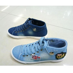 Ladies Sky Blue Casual Canvas Shoes, Size: 4 to 10