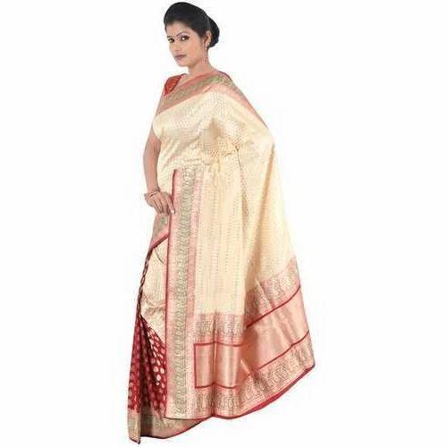Indian Handloom Designer Silk Saree, Length: 6 m with Blouse Piece