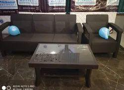 Brown Plastic Sofa Set