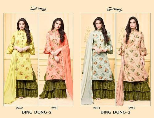 5a5a45f334 Formal Wear Your Choice Ding Dong Jam Silk Cotton Sarara Suits, Rs ...