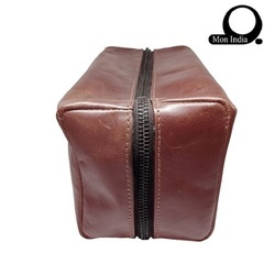 c1b7ed7059 Mon Exports Brown Leather Toiletry Bag