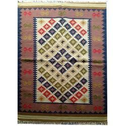 Flat Weave Kilim Woolen Durrie Carpet For Living Room