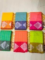Zari Border fancy saree, 6 m (with blouse piece)