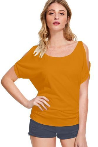 c365a600 Hosiery Yellow Half Sleeves Designer Trendy T-Shirts For Women, Rs ...