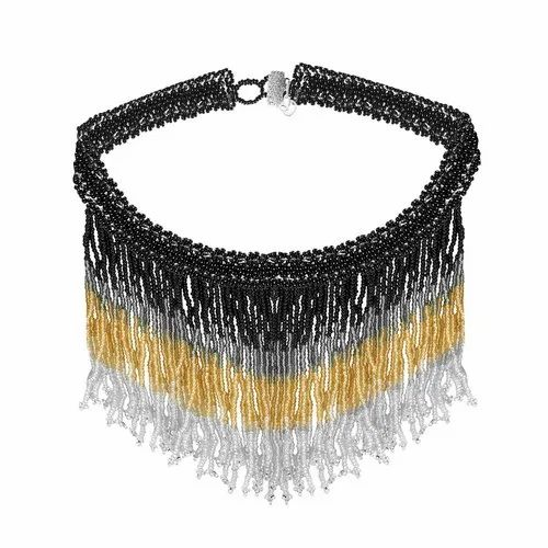 f20f8874c41d1 Choker Necklace - Black Thread Metal Glass Acrylic Pearl Gold White ...
