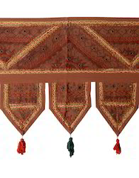handmade brown patchwork embroidered door hangings toran