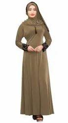 Women's Embosed Style Lycra Abaya Burkha with Waist Belt