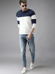 Cotton Men Navy Blue & White Panel Round Neck T-Shirt