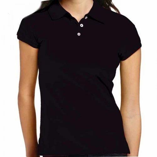 7fb896cd08c Black Cotton Ladies Collar T-Shirt, Rs 200 /piece, Vertex | ID ...
