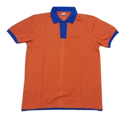 1d82147c Mens Cotton Orange And Blue Collar T Shirt, Size: S To XL, Rs 210 ...