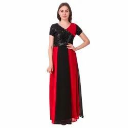 Red And Black Sequence Gown