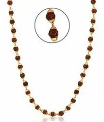 Kesar ZemsRudraksha Mala with Golden Plated Cap - for Jaap - for Gift as a Sign of Goodness
