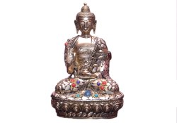 Brass Buddha Statue With Stone Work