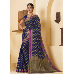 Navy Blue Designer Print Saree