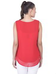 Red And Plain Ladies Fancy Top