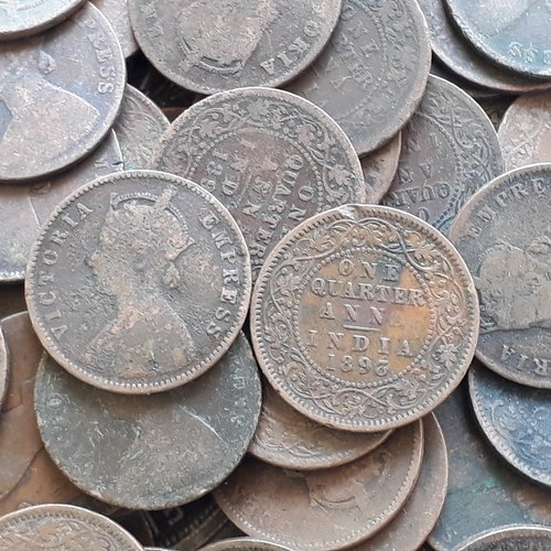BRITISH INDIA MIXED LOT OF 25 COINS 1//4  RUPEE SILVER GEORGE VI