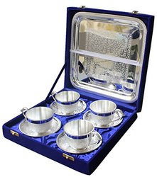 Silver Plated Brass Cup & Saucer Set with Tray