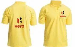 Yellow Cotton Mens Polo T Shirt