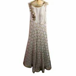 Sleeveless Ladies Party Wear Chiffon Dress, Size: L