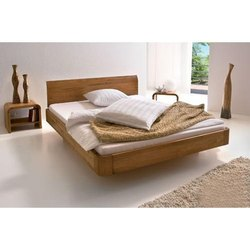 现代柚木双人床,尺寸/尺寸:6 X 6英尺