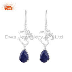 Lapis Lazuli Gemstone 925 Sterling Fine Silver OM Charm Earrings